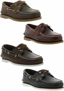 Timberland-Classic-2-Eye-Boat-Shoe-Mens-Leather-Deck-Shoes-Size-UK-7-11