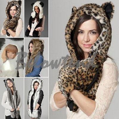 Plush Cartoon Animal Hat Faux Fur Fluffy Cap Earmuff Scarf Long Mitten Glove