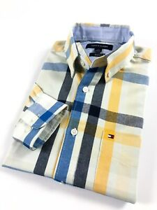 TOMMY-HILFIGER-Shirt-Men-s-Brushed-Oxford-Blue-Yellow-Madras-Check-Slim-Fit