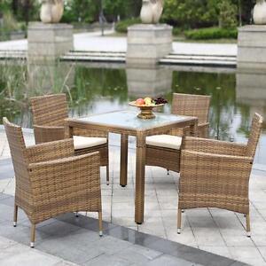 iKayaa 5PCS Rattan Patio Dining Table Chair Set Cushion Kitchen