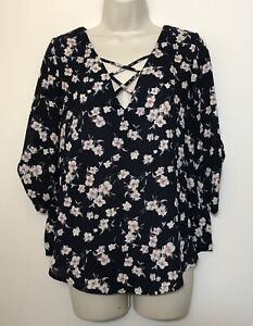 Sienna Sky Small Blouse Navy Blue & Pink Floral 3/4 Sleeve Criss Cross Neck