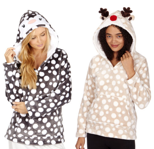 New Ladies Novelty Animal Hooded Spotted Print Soft Warm Jumper Lounge Top Sale
