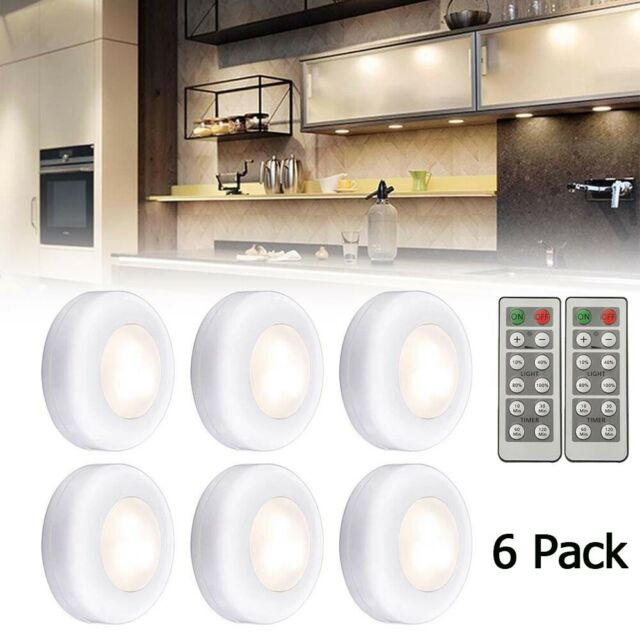 6 Pcs Cordless Under Cabinet Led Lights Dimmable Remote Timer Batteries Included For Sale Online Ebay