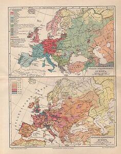 Alte Landkarte Bevölkerungs-Dichtigkeit Deutsches Reich Karte Lithographie 1903