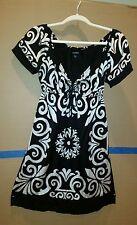 Women's Bebe Black/White Silk Mini Dress Size Small