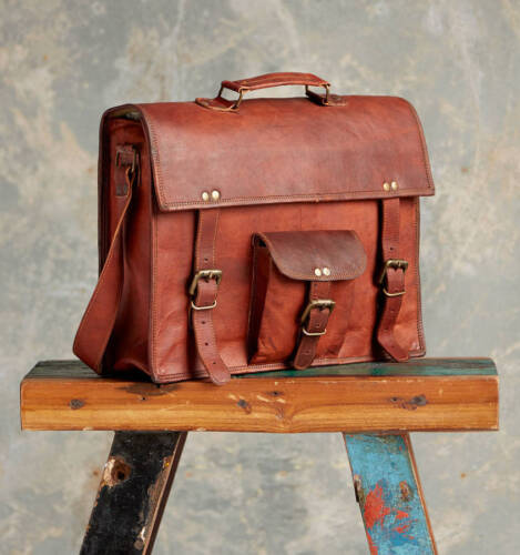 Men/'s Genuine Leather Vintage Laptop Messenger Shoulder Briefcase Bag Satchel