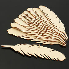10pcs Mdf Feathers Laser Cut Blank Plaque Hanging DIY for Craft Embellishments