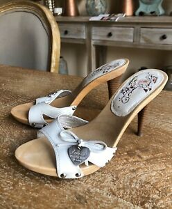 guess jeans white leather wooden high heel mules sexy
