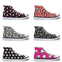 Skull Ladies Womens Girls Hi Tops Canvas Flat Lace Up Plimsolls Trainers Shoes