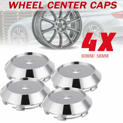 4Pcs Chrome Car Wheel Center Hubs Caps Rim Decorative Covers Kit 60*58mm OPJ