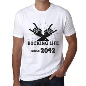 Rocking-Life-Since-2042-Hombre-Camiseta-Blanco-Regalo-De-Cumpleanos-00400