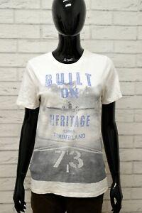 Maglia-TIMBERLAND-Donna-Taglia-Size-M-Maglietta-Shirt-Woman-Manica-Corta-Bianco