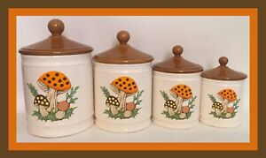 Vintage-1982-Sears-Roebuck-Merry-Mushroom-4-Piece-Canister-Set-Retro-Kitchenware