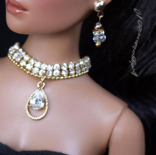 "Rhinestone Zircon Necklace and Earring Jewelry Set fits 16/"" Tonner dolls 063B"