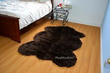 Lodge Cabin 5' Cottage Rustic Area Rug Brown Sheepskin Bear Skin Pelts Carpet