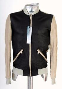 Rrp Coat Brown amp; Black Xs Eu44 Linen Jacket Dolce Gabbana Leather £595 7zqOxnBP