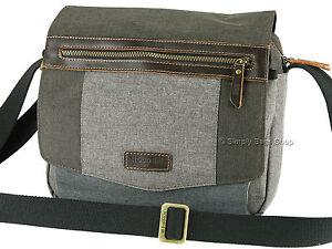 Troop London Cross Body Messenger Shoulder Bag With Leather Trims - TRP0387 Grey