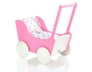 Wooden-Girl-Dolls-Pram-MILA-Toy-Buggy-Walker-Pink-White-with-bedding