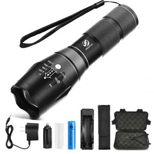 Details About Ultra Led Brightest Flashlight Super Heavy Powerful Torch Battery Charger Box