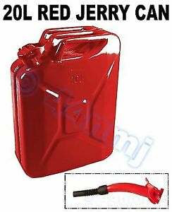 Race Rally offroad - 20lt Metal Jerry Can & SPOUT for Fuel Petrol Diesel RED