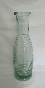 Vintage-Antique-Green-Ribbed-Glass-Carafe-Vase