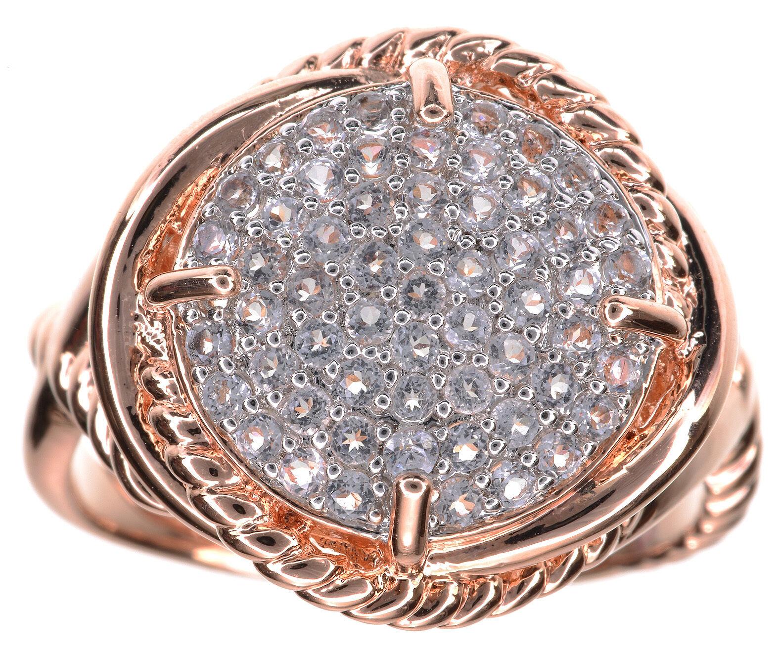 Bronzo Italia Pave White Topaz Gemstone Twisted Rope pink Bronze Ring Size 7