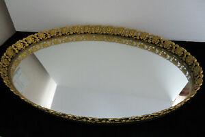 Large-Vintage-Oval-Brass-Frame-Vanity-Mirror-Perfume-Tray