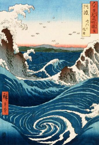 Vintage//Art Print//Poster//Waves at Naruto Awa Province by Hiroshig//Oriental