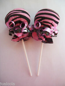 HOT PINK BLACK DOTS GIRL SCRATCH MITTEN LOLLIPOPS  BABY SHOWER DIAPER CAKE