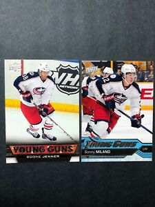 2-Card-Young-Guns-Lot-Columbus-Bluejackets-Boone-Jenner-amp-Sonny-Milano-UD-YG-RC