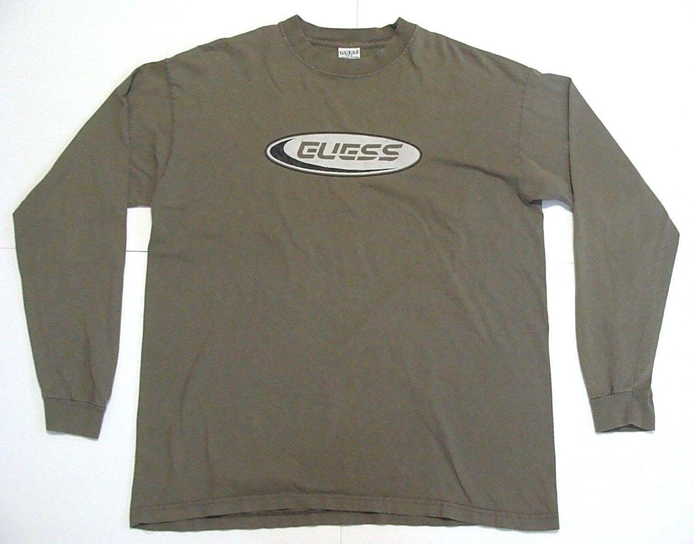 VTG Guess Jeans MADE in USA Long Sleeve Shirt Mens Big Logo 90s Rare bluee sz L