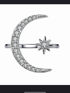 925 silver diamanté moon and star adjustable ring jewellery present gift