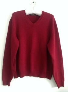Brooks Brothers Women V-Neck Pullover Long Sleeve Sweater Merino Wool Red Large