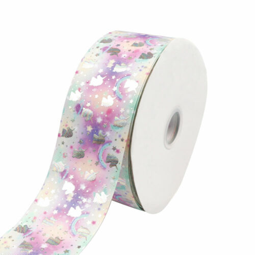 "2yards 3/"" 75mm Unicorn Heart Printed Rainbow Color Grosgrain Ribbon DIY Material"