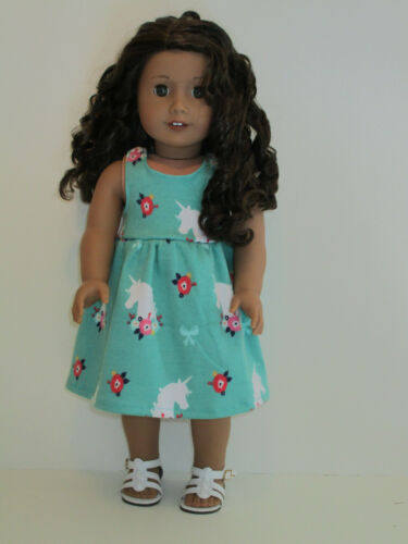 """Unicorn /& Flowers//Green Sundress for 18/"""" Doll Clothes American Girl"""
