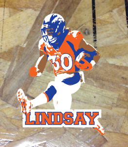 new product dc691 5bf43 Details about Phillip Lindsay #30 Denver Broncos Running Pro Orange Blue  sticker decals - 4