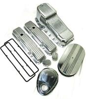 1958-1979 Small Block Chevy 283-350 Tall Polished Finned Engine Dress Up Kit Sbc