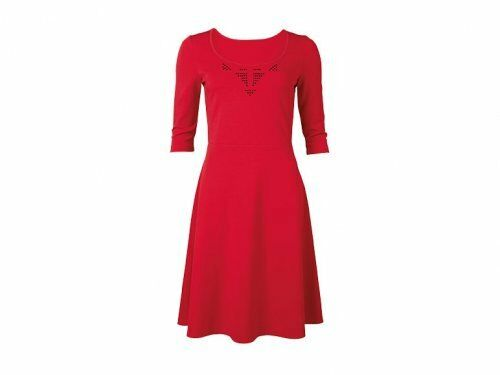 38 Heavy jersey for extra comfort Shiny Sequins Red Dress size 10 11 Eur 36