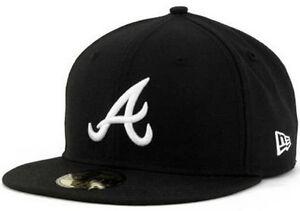 New-Era-Atlanta-Braves-Cap-Black-White-5950-59Fifty-Fitted-Team-Baseball-6-7-8-8