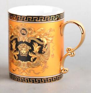 Euro-Porcelain-Medusa-Fine-Bone-China-Coffee-Tea-Mug-Cup-24K-Gold-Yellow