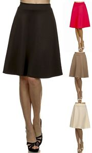 Career-Solid-Office-Midi-Length-High-Waisted-Waist-Pleated-Skater-Flared-SKIRT