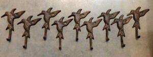 SET OF 9 HUMMINGBIRD HOOKS rustic brown cast iron hooks for bathroom kitchen