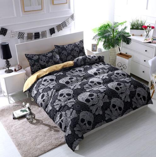 Bedding Set 3D Skull Printing Duvet Quilt Cover Flower Queen Pillowcase Ghost