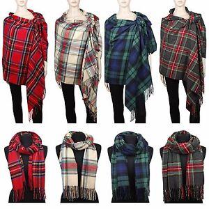 Image Is Loading Cashmere Feel Blanket Scarf Large Scottish Tartan Plaid