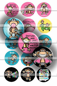 Pre-Cut-Bottle-Cap-Images-Funny-Monkey-Collage-Sheet-R409-1-Inch-Circles