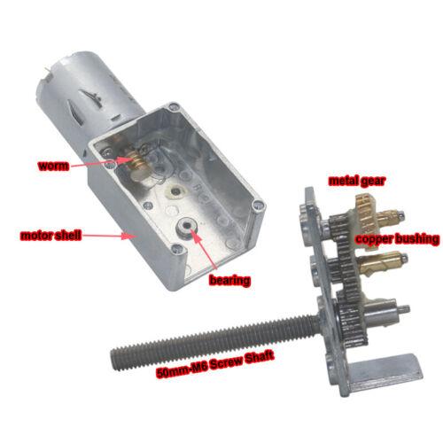 DC6V 12V 24V JGY370 Turbo Worm Gearbox Speed Reduction Gear Motor M6x50 Screw