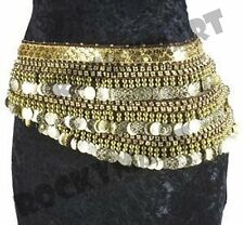 Espresso colored BELLY DANCER HIP SCARF Belt with Gold Coins RM4033