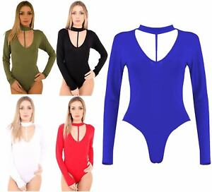 New Womens Stretchy V Neck Chocker String Split Strappy Leotard Bodysuit Top