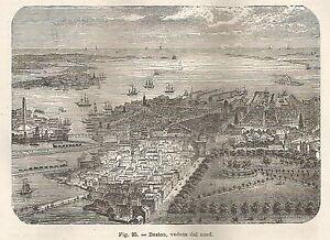 à Condition De A5898 Boston - Veduta Da Nord - Xilografia - Stampa Antica Del 1895 - Engraving