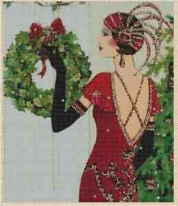 Cross-Stitch-Chart-ART-DECO-LADY-with-Christmas-Wreath-10vb-56-Large-Print